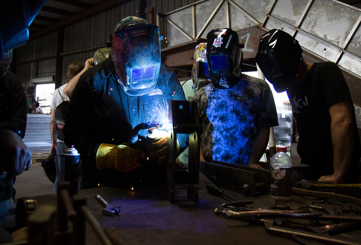 IRSC students learning specialized welding skills